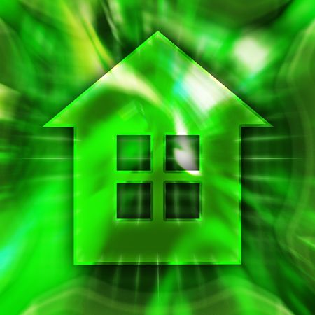 Green home symbol conceptual illustration illustration