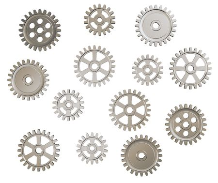 clock gears: Set of toothed gears on white background