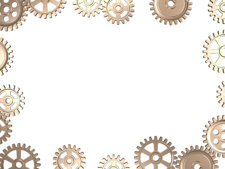 Frame made from gears on white background
