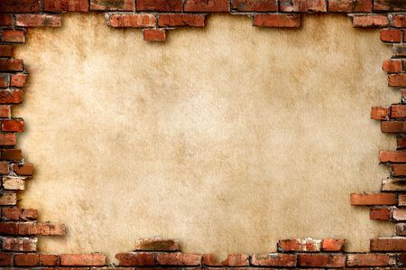 wall decor: Grungy parchment paper background surrounded by red brick frame isolated with clipping path Stock Photo