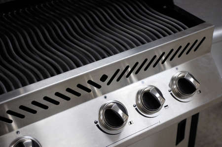 gas stove: Stainless steel barbecue closeup