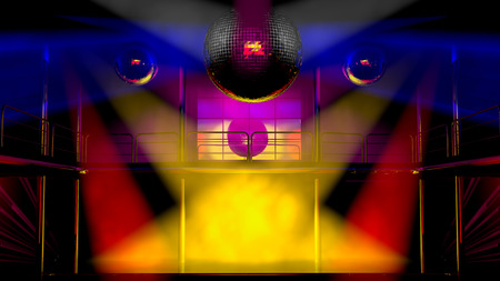 Night club interior with colorful spot lights and shining mirror disco balls artistic light show photo