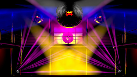 laser show: Night club interior with colorful spot lights, lasers and shining mirror disco balls artistic light show
