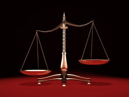 Biased brass weight scales Law and Justice symbol Isolated on black red background