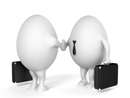 egghead: Two businessmen characters with a briefcases shaking hands. 3D illustration isolated on white background.