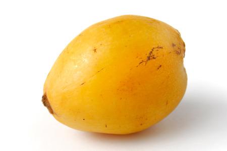 upclose: Yellow loquat fruit - Eriobotrya japonica - Isolated on white background Stock Photo