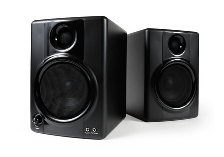 highend: Black studio monitors. High-end sound speakers. Isolated with clipping path on white background.