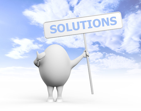 3D illustration of a cartoon egghead character holding a sign with Solution written on it under blue sky