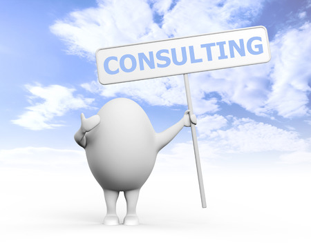 resolving: 3D illustration of a cartoon egghead character holding a sign with Consulting written on it under blue sky Stock Photo