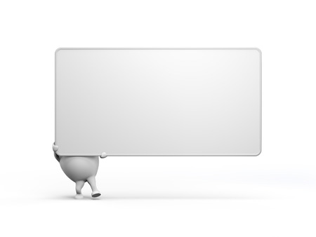 3D illustration of a cartoon character holding a large blank sign. Isolated on white background. illustration