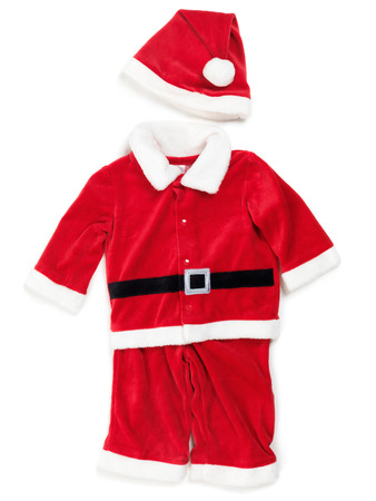 child's: Red baby santa costume. Isolated outfit on white background. Stock Photo