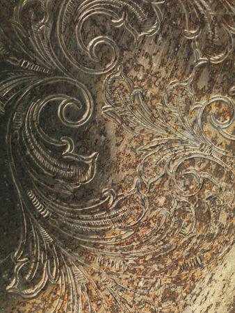 oxidated: Oxidado sucio metal oxidado textura de fondo con el ornamento Foto de archivo