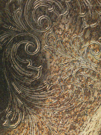 oxidized: Oxidized grungy rusted metal texture background with ornament