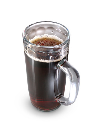 Glass with dark beer isolated with clipping path on white background photo