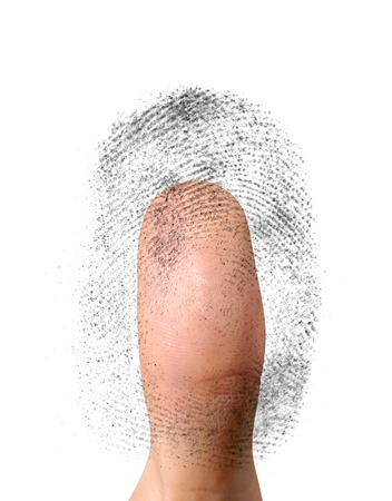 verifying: Close-up of a fingerprint and a thumb conceptual photo-illustration. Biometric identification, security, safe access, fingerprint verification concept. Isolated on white background Stock Photo