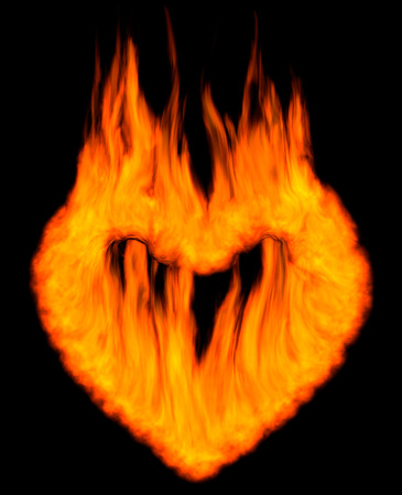 Burning heart shaped conceptual symbol isolated silhouette on black background. 3D illustration. illustration