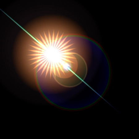 lensflare: Lens flare artistic effect isolated on black background. Can be overlayed on an image with screen mode to get nice realistic lens flare effect. Stock Photo