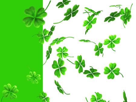 3D illustration of falling shamrock leaves Saint Patricks day symbol isolated on white green background