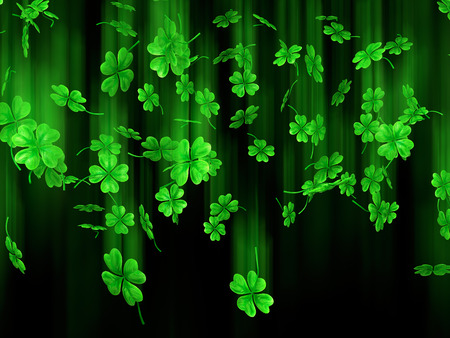 patricks: 3D illustration of falling shamrock leaves Saint Patricks day symbol isolated on black background