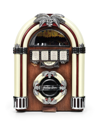 jukebox: Retro juke box radio isolated on white background with clipping path