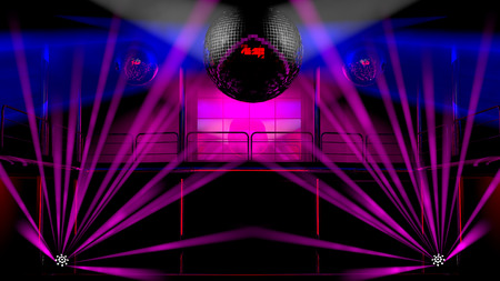 Night club interior with colorful spot lights, lasers and shining mirror disco balls artistic light show photo