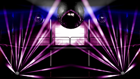 night club interior: Night club interior with colorful spot lights, lasers and shining mirror disco balls artistic light show