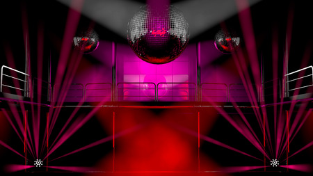 nightclub bar: Night club interior with colorful spot lights, lasers and shining mirror disco balls artistic light show
