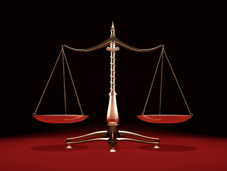 scale of justice: Balanced brass weight scales Law and Justice symbol Isolated on black red background