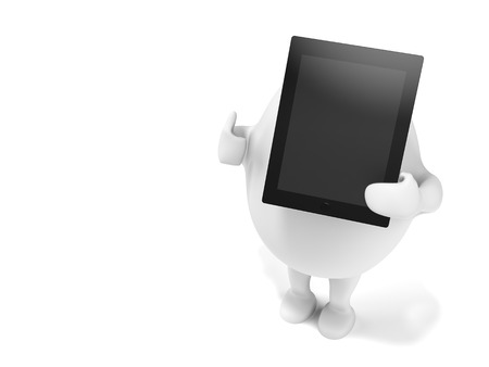 egghead: 3D illustration of a cartoon egghead character holding a tablet computer and showing thumbs up. Isolated on white background.