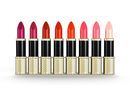 small group of objects: A palette of luxury lipstick tubes of colors ranging from purple, red to pink isolated objects on white background
