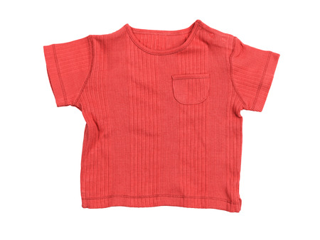 child's: Baby boy red t-shirt isolated on white background with clipping path Stock Photo
