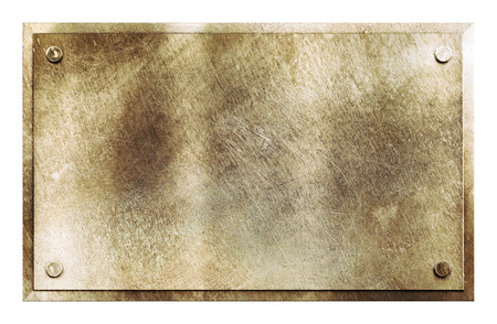 Rustic shiny brass yellow metal sign plate with rivets texture background isolated on white photo