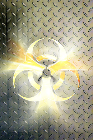 wastes: Glowing biohazard symbol over steel background Conceptual photo-illustration