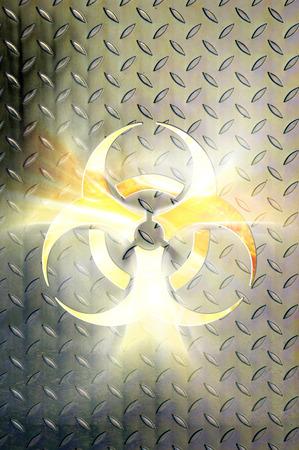 steel: Glowing biohazard symbol over steel background Conceptual photo-illustration