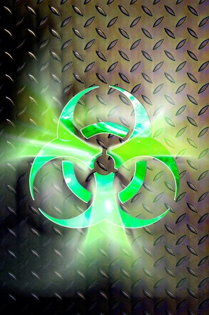 poison symbol: Glowing biohazard symbol over steel background Conceptual photo-illustration Contains a clipping path Stock Photo