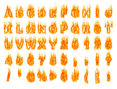 c r t: Burning alphabet letters and numbers isolated silhouettes on white background. Rendered 3D illustration Stock Photo
