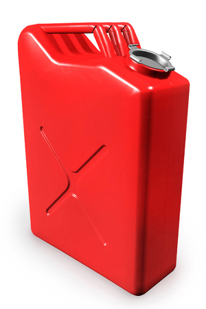 gas can: Red gas can, gasoline canister isolated on white background