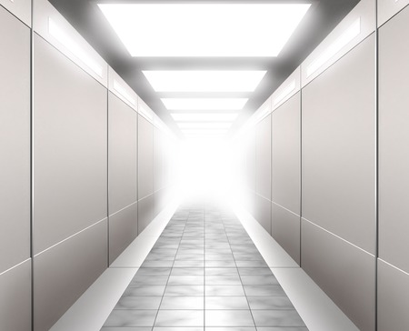 brightly lit: Stock 3D Illustration of a Brightly lit corridor leading into white light Stock Photo