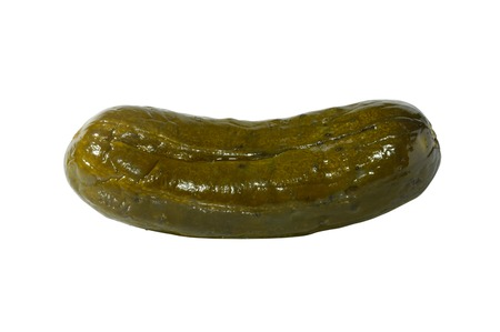 Large dill pickle close-up isolated silhouette with a clipping path on white background