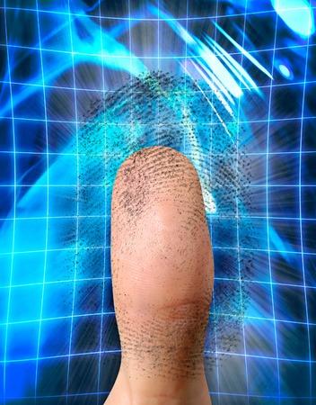 verifying: Close-up of a fingerprint and a thumb conceptual photo-illustration. Biometric identification, security, safe access, fingerprint verification concept Stock Photo