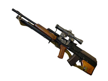semi automatic: Russian hunting carbine Wolf bullpup system and telescopic sight isolated silhouette with clipping path over white background