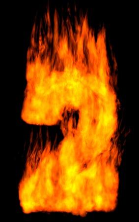 burning alphabet: Burning 2 isolated on black