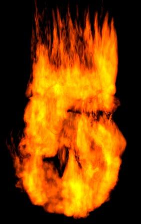 burning alphabet: Burning 5 isolated on black