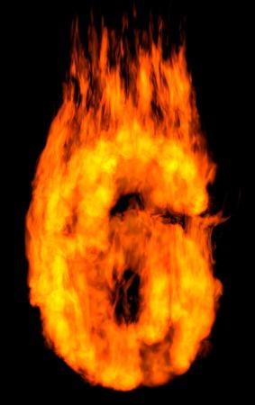 Burning 6 isolated on black photo