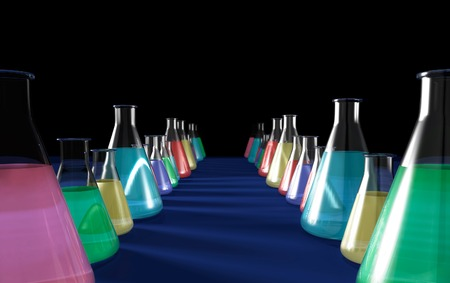 erlenmeyer: Conceptual 3D illustration of rows of laboratory flasks filled with colorful liquids Isolated on black blue background with copyspace