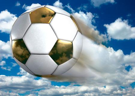 league: Golden soccer ball flying under blue summer sky Conceptual 3D Illustration
