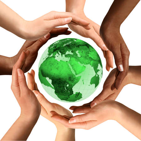 world peace: Conceptual symbol of a green Earth globe with multiracial human hands around it. Isolated on white background. Unity and world peace concept. Stock Photo