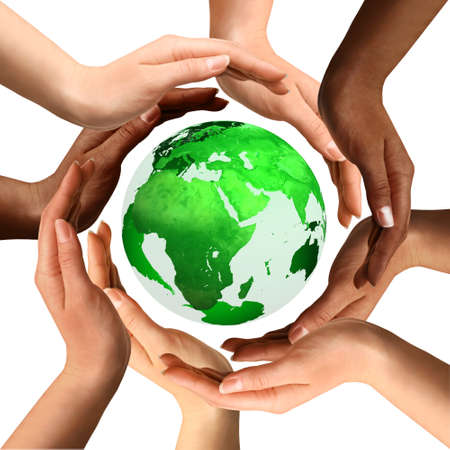 Conceptual symbol of a green Earth globe with multiracial human hands around it. Isolated on white background. Unity and world peace concept. Stock Photo