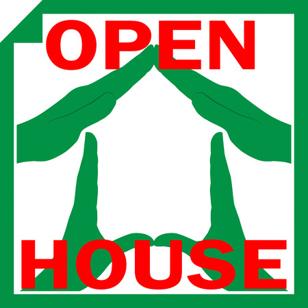 Conceptual vector illustration of a house symbol made from hands with sign OPEN HOUSE overlayed on it illustration