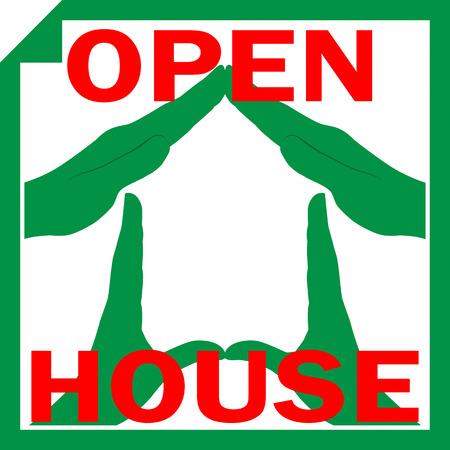 open huis: Conceptuele vector illustratie van een huis symbool uit handen met teken OPEN HUIS overlay op het